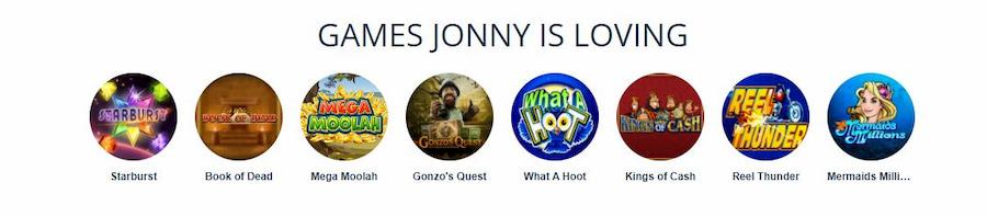 Games at Jonny Jackpot
